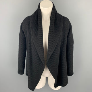 RALPH LAUREN Black Label Size S Black Cable Knit Cashmere Open Front Shawl Collar Cardigan