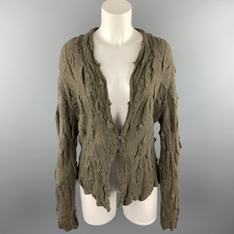 BUTAPANA Size M Olive Knitted Textured Wool Cardigan
