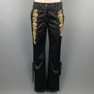 ROBERTO CAVALLI Size 6 Black & Gold Embroidred Cotton / Viscose Skinny Dress Pants