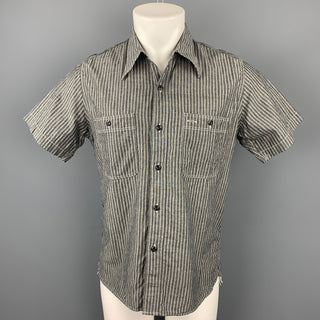 BELAFONTE Size L Dark Gray Stripe Cotton / Linen Short Sleeve Shirt