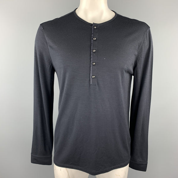 JOHN VARVATOS Size L Navy Hetahrered Wool Jersey Buttoned Henley