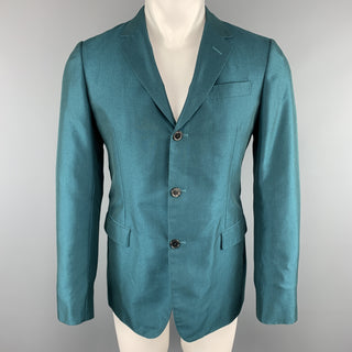 MARNI Size 38 Teal Wool Notch Lapel Sport Coat