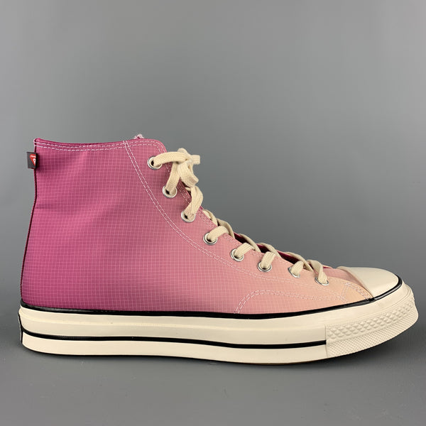 CONVERSE Size 12 Raspberry & Pink Gradient Nylon High Top Sneakers