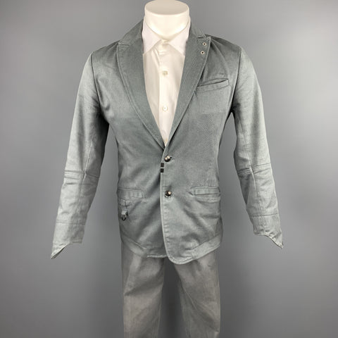 DIESEL Size S Grey Solid Cotton Blend Peak Lapel Suit