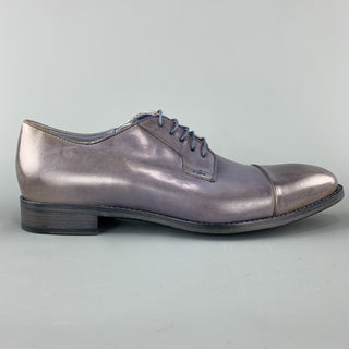 PAUL SMITH Size 11 Slate Distressed Antique Effect Leather Cap Toe Lace Up