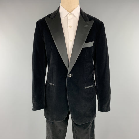 ETRO Size 40 Regular Black Cotton Velvet 34 x 36 Peak Lapel Tuxedo