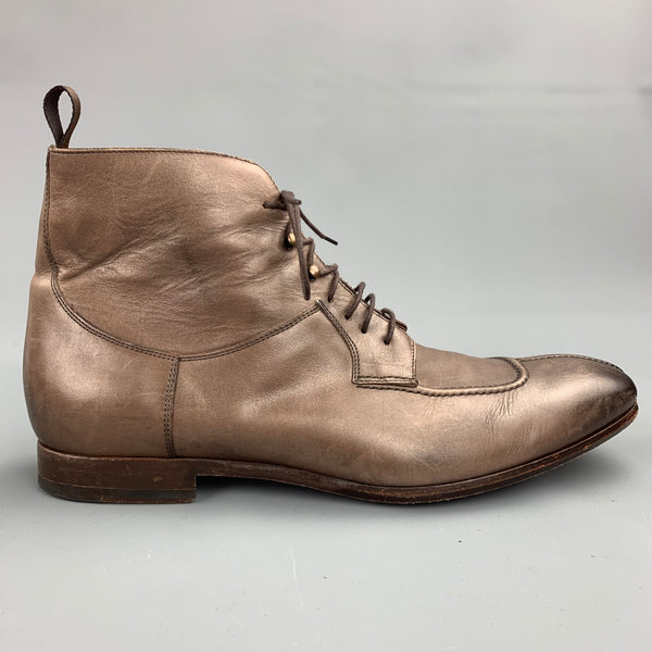 PAUL SMITH Size 9.5 Brown Distressed Leather Lace Up Ankle Boots