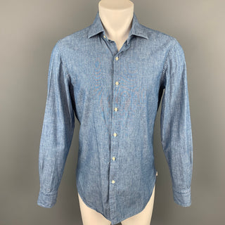 GUY ROVER Size M Blue Chambray Cotton Button Up Long Sleeve Shirt