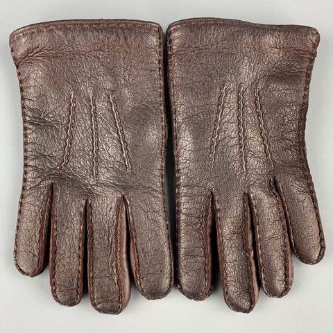 YVES SAINT LAURENT Brown Leather Cashmere Gloves