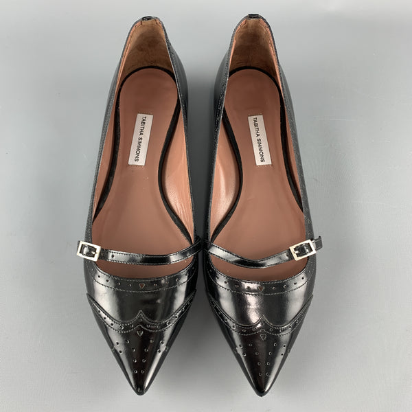 TABITHA SIMMONS Size 7 Black Patent Leather Mary Jane Wingtip Flats