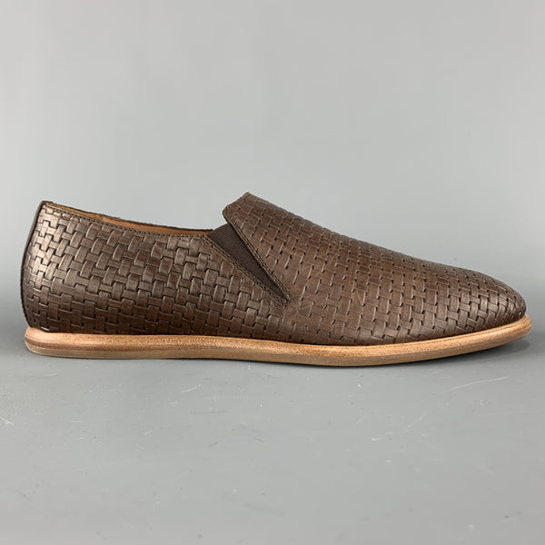 AQUATALIA Size 10 Brown Woven Leather Slip On Loafers