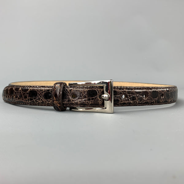 ANNA Waist Size S Brown Alligator Skinny Belt