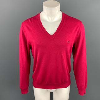 ETRO Size M Raspberry Cotton Blend V-Neck Pullover