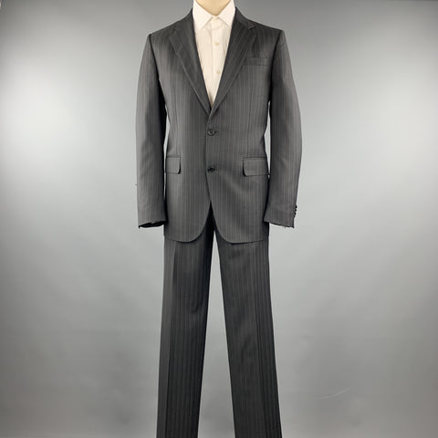 VALENTINO Size 40 Grey Stripe Regular Virgin Wool Notch Lapel Suit