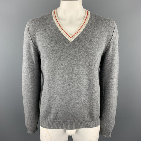 PRADA Size L Gray Wool V-Neck Beige Trim Elbow Patch Pullover Sweater