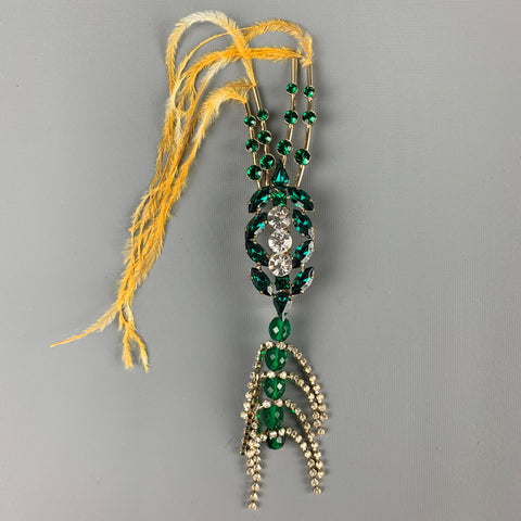 DRIES VAN NOTEN All Too Human Green & Gold Rhinestones Feathers Brooch