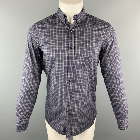 YVES SAINT LAURENT Size S Gray & Navy Plaid Cotton Button Down Patch Pocket Long Sleeve Shirt