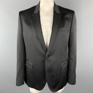 VERSACE COLLECTION Size 46 Black Sparkle Viscose / Wool Satin Trim Tuxedo Sport Coat