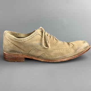 N.D.C. Size 10.5 Khaki Distressed Suede Wingtip Lace Up Shoes