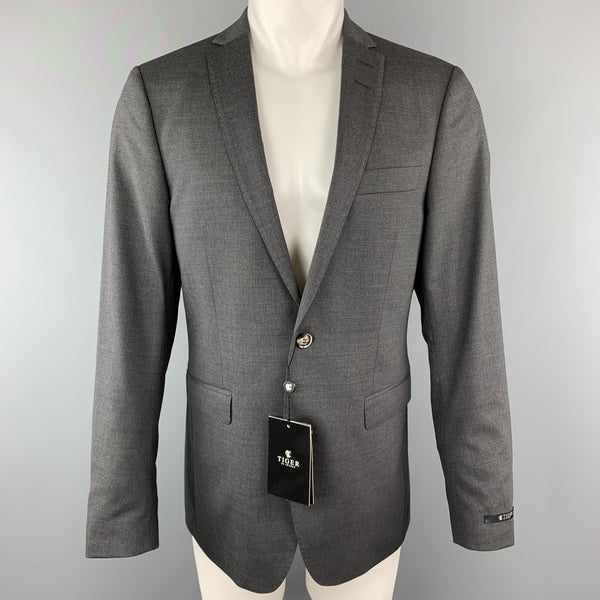 TIGER of SWEDEN 40 Regular Dark Gray Wool Blend Notch Lapel Sport Coat