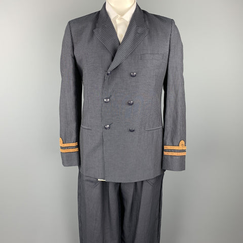 JEAN PAUL GAULTIER Size 40 Navy Pinstripe Linen / Mohair Double Breasted Suit