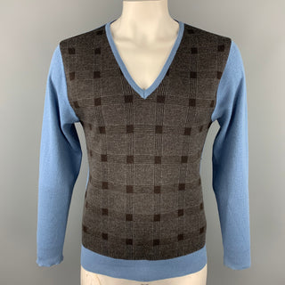 ETRO Size XL Blue & Charcoal Plaid Merino Wool V-Neck Sweater