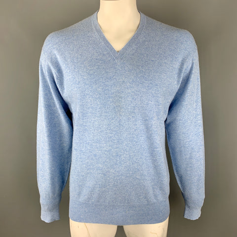 N. PEAL Size L Light Blue Knitted Cashmere V-Neck Pullover Sweater