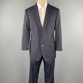 DOLCE & GABBANA 40 Regular Navy Stripe Wool Notch Lapel Suit
