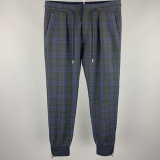 PAUL SMITH Size 30 Blackwatch Plaid Wool Drawstring Dress Pants