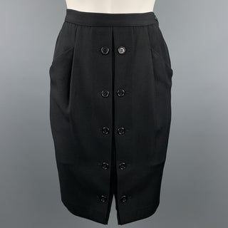 GIORGIO ARMANI Size 8 Black Twill Pencil Skirt