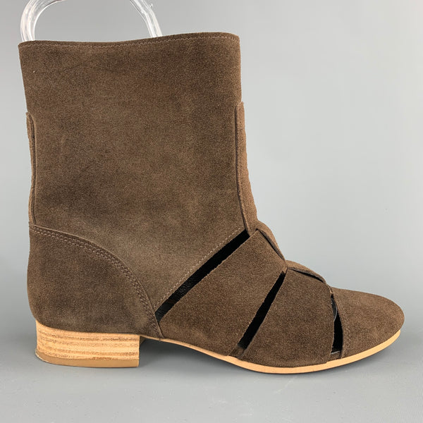 MADRAS Size 7 Brown Cut Out Suede Desert Ankle Boots