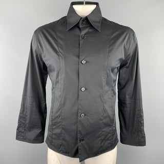 KARL LAGERFELD Size 42 Black Cotton Blend Shirt Jacket