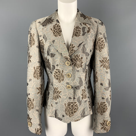 ARMANI COLLEZIONI Size 8 Grey & Taupe Floral Print Bell Sleeve Blazer