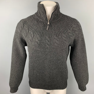 LOUIS VUITTON Size M Charcoal Knit Cashmere / Wool Half Zip Sweater