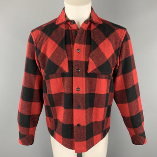 GANRYU Size S Red Plaid Wool Blend Patch Pocket Long Sleeve Shirt