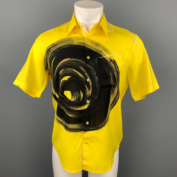 CHRISTOPH BROICH Size M Yellow Graphic Polyester Button Up Short Sleeve Shirt