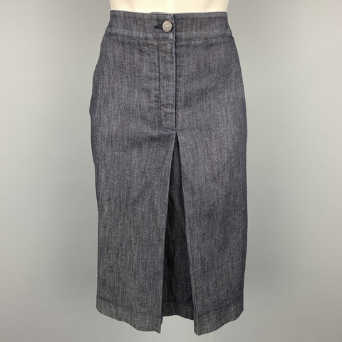 SALVATORE FERRAGAMO Size 10 Blue Denim Single Pleat Zip Fly Skirt