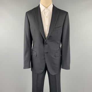 BELVEST Size 42 Long Black Stripe Wool Notch Lapel Suit