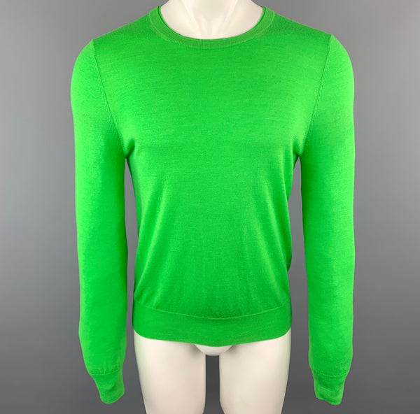 PAUL SMITH Size S Green Merino Wool Crew-Neck Pullover Sweater