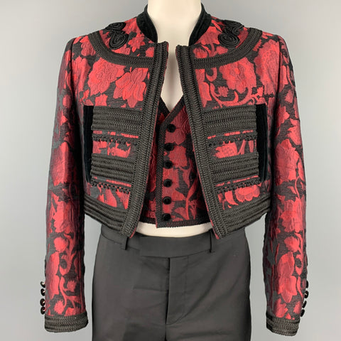DOLCE & GABBANA SS 2015 Size 42 Red & Black Brocade Viscose Blend Cropped Vest & Jacket
