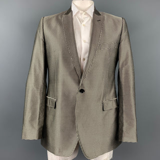 DOLCE & GABBANA Size 44 Regular Gold & Black Dots Silk Peak Lapel Sport Coat