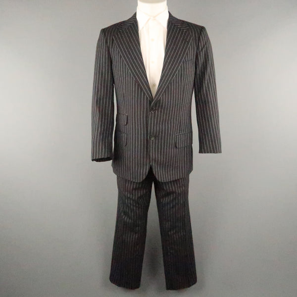GUCCI Chest Size 42 Black & White Pinstripe Wool Notch Lapel 34 27 Suit