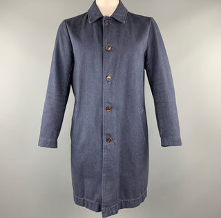 S.K.U. Size L Navy Solid Cotton Buttoned Coat