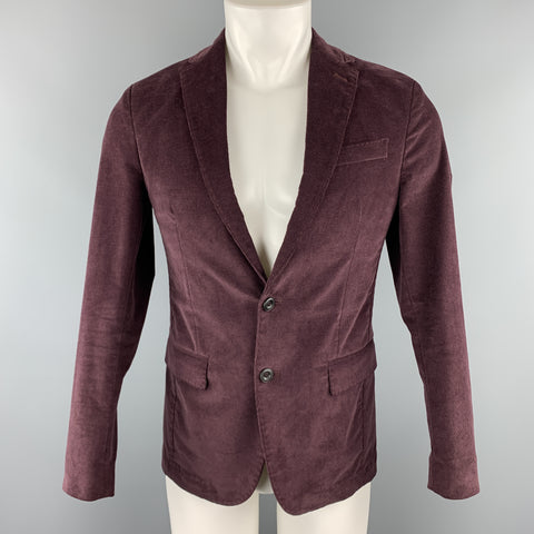 MESSAGERIE Burgundy Size 36 Cotton / Elastane Corduroy Notch Lapel Sport Coat