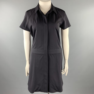 REED KRAKOFF Size 12 Navy Virgin Wool Shirt Dress
