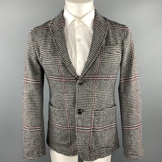 TS (S) Size S Gray Plaid Wool Blend Peak Lapel Sport Coat