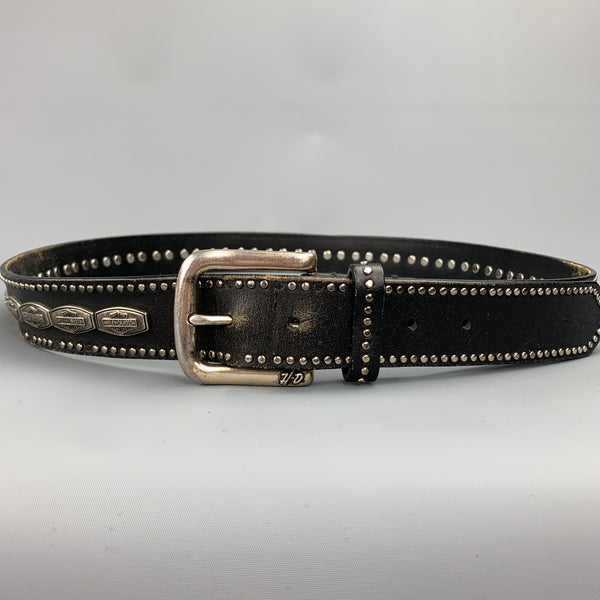 HARLEY DAVIDSON Size 42 Black Studded Leather Belt