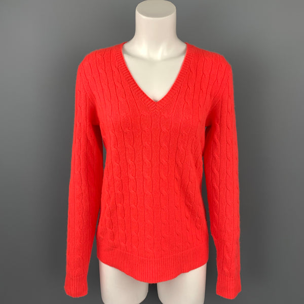POLO by RALPH LAUREN Size M Orange Cable Knit Cashmere V-Neck Sweater