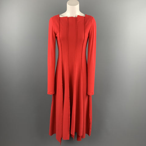ANETT ROSTEL Size 6 Red Cotton Asymmetrical Long Dress