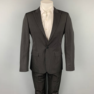 CALVIN KLEIN COLLECTION Size 36 Black Textured Wool / Polyamide Suit